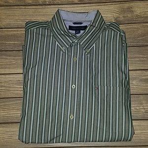 Tommy Hilfiger green striped button down shirt